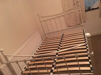 Lovely white metal double bed frame-Free delivery