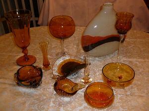 """Superbe bol 8x5"""" fait main, verre soufflé Murano ambre en 3 tons West Island Greater Montréal image 2"""