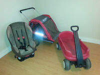 CCM 2 seater bike trailer / chariot, car seat & wagon