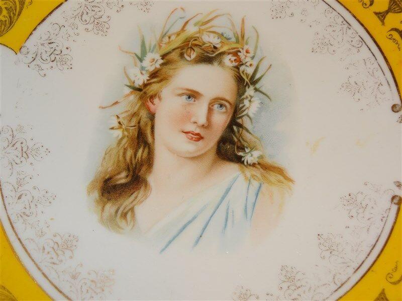 "Antique 10"" Portrait Plate * Beautiful Woman * E.S. Germany 1861"