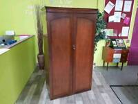 Walnut Veneer Double Wardrobe - Lockable With Key - Can Deliver For £19