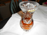 VINTAGE CLEAR AND AMBER CRYSTAL VASE – JULIA (POLAND)