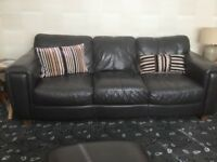 THREE PIECE LEATHER SOFA SET