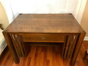 Antique mission library desk and chair
