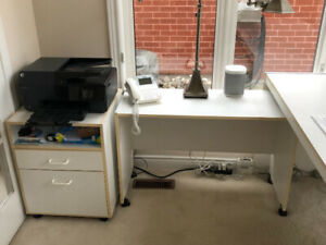 White Office Desk with side table and filing drawer.