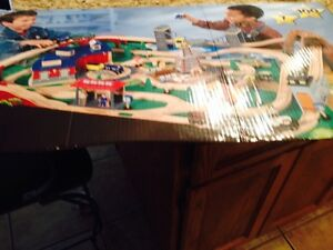 Train Table, Mocha colored trains, tracks, roundhouse included
