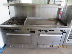 Industrial Garland Gas Range Double Oven, 4 Burner and Flat Top