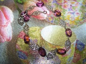 Filigree Metalware Purple Faceted Glass Stone Necklace