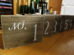 Wood Table Numbers #1-10
