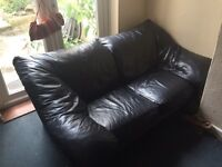 Comfy Black Leather Sofa (open to offers)