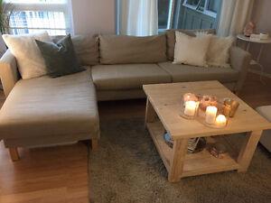 Ikea Karlstad Sectional, Rekarne Coffee Table, and Hampen Rug!