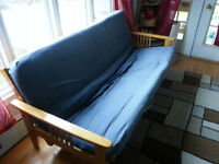 Futon with wooden frame (Size: Full)