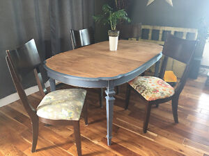 Beautifully refinished antique table with solid wood chairs