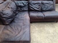 Brown large corner sofa faded in colour can help with delivery