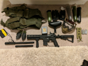 Paintball gun and gear