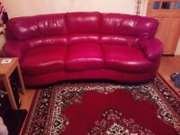 Red leather 3 seater sofa - excellent condition