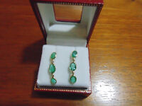 Real Emeralds set in 14kt yellow gold