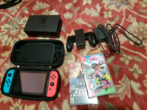 NINTENDO SWITCH good condition with games (zelda,splatoon)
