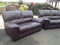BROWN 3 + 2 LEATHER SOFAS