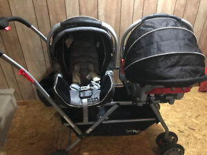 Twin Travel System - double stroller frame + car seats + bases