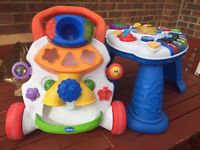 Baby activity table and push along walker