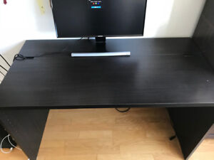 IKEA desk table, Bookshelf, chair and laser printer