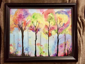 Watercolour tree 11x14 print with frame
