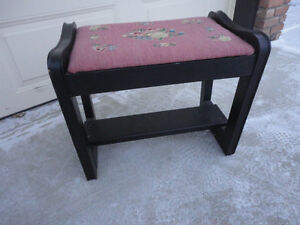 Black Painted Antique Vanity Bench With Needlepoint Seat