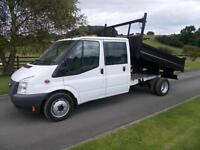 FORD TRANSIT 350 100PS CREW CAB TIPPER 63 REG 49,400 MILES SIX SPEED