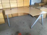 Beech right hand corner desk
