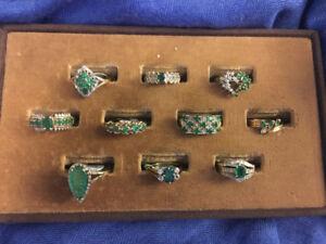 Selling heirloom quality emerald diamond rings.