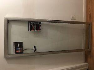 walk in cooler doors, fridge, hours sign