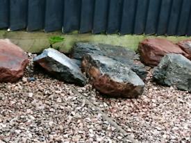 Large grey slate rockery stones