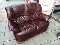 2 seater 2 chairs leather oxblood leather suite