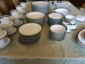 Classic black & white porcelain China dishes.