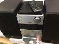 Philips micro hifi stereo , iPod dock, cd player