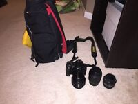 Nikon D40 DSLR with lenses and accessories