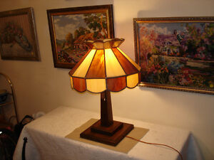 VINTAGE STAINED GLASS LAMP SHADE.