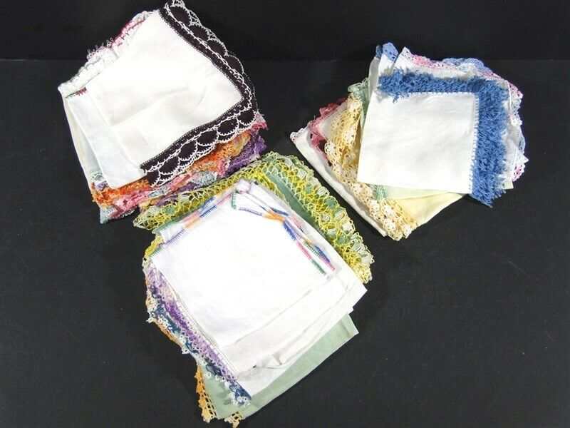 35 Vintage HANKIES Handkerchiefs Hand Stitched Crocheted Tatted Edge