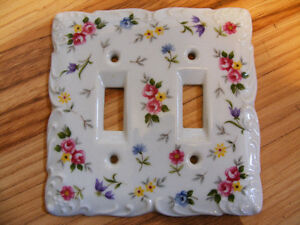 Vintage Porcelain Double Light Switch Cover with Square Corners