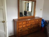 Solid oak walnut chest of drawers