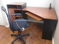 CORNER DESK AND SWIVEL CHAIR