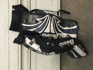 """Brian's 28"""" goalie pads and youth chest protector"""