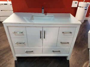 "48"" Solid Wood Vanity with Quartz Top - Hot Deal!"
