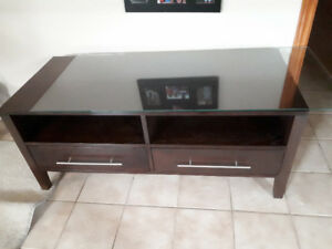 TV stand with glass on the top