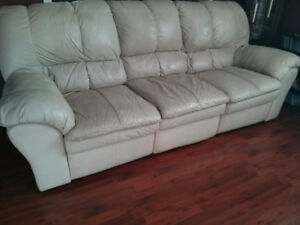 Comfy Oversized Genuine Leather Sofa with Double Recliners