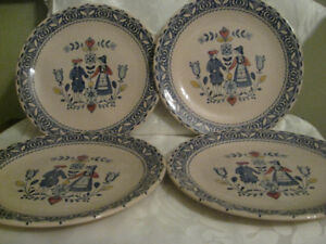 4 Johnson Brothers Hearts & Flowers Dinner Plates 10""