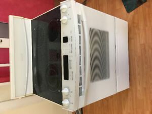 "Kitchen aid white 30""glass ceramic top stove range oven"