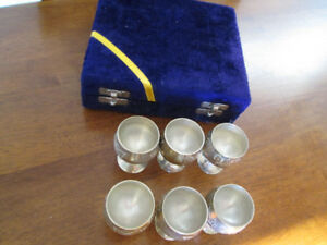 Vintage Set of 6  BRASS GOBLETS Original Blue Velvet Box
