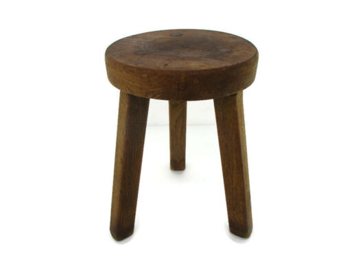 Vintage Hand Carved wood Tripod Milking Stool Pedestal Table Farmhouse Barn